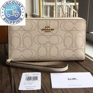 NWT Coach Large Phone Wallet In Signature Canvas!!